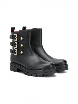 Ботинки по щиколотку с пряжками Cesare Paciotti Kids. Цвет: черный