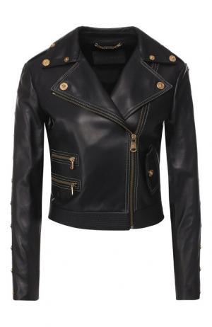 Кожаная куртка с косой молнией Versace. Цвет: черный