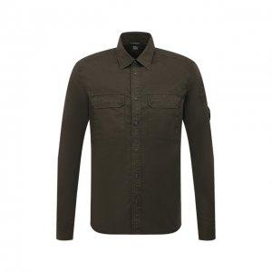 Хлопковая рубашка C.P. Company. Цвет: хаки