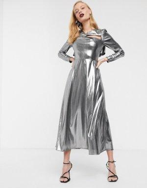 Платье миди металлик с длинными рукавами -Серебряный ASOS WHITE