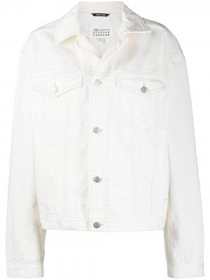 Джинсовая куртка оверсайз на пуговицах Maison Margiela. Цвет: белый