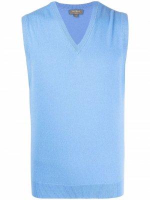 Кашемировый жилет с V-образным вырезом N.Peal. Цвет: синий