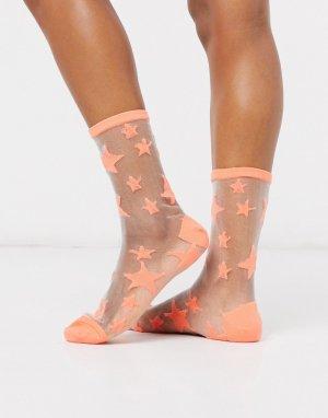 Сетчатые носки со звездами -Оранжевый Gipsy