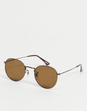 Коричневые круглые солнцезащитные очки в стиле унисекс Hello-Коричневый цвет A.Kjaerbede