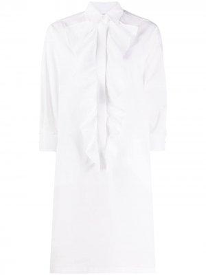 Платье-рубашка с оборками Max Mara. Цвет: белый