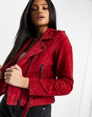Байкерская куртка из красного бархата Blank NYC Сardinal-Красный