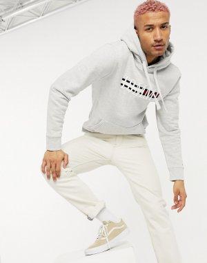 Серый меланжевый худи с легендарным логотипом-флажком большого размера на груди Tommy Jeans