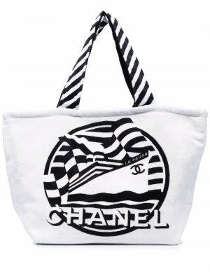Пляжная сумка La Pausa 2020-х годов Chanel Pre-Owned. Цвет: белый