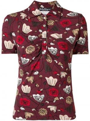 Рубашка-поло с цветочным принтом 1970-х годов Salvatore Ferragamo Pre-Owned. Цвет: красный