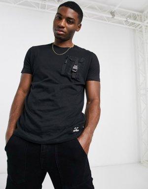 Черная футболка узкого кроя -Черный цвет Brave Soul