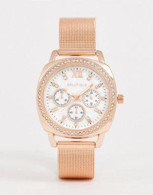 Женские наручные часы цвета розового золота с сетчатым ремешком -Розовый Bellfield