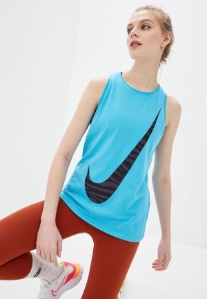 Майка спортивная Nike W NK DRY TANK DFC ICON CLASH. Цвет: синий