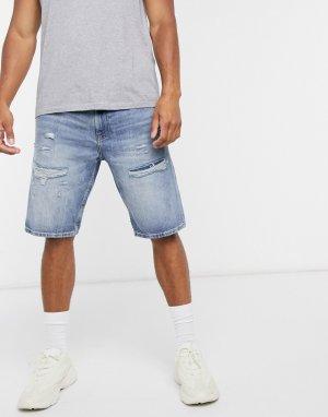 Голубые джинсовые шорты с состаренной отделкой -Синий Esprit