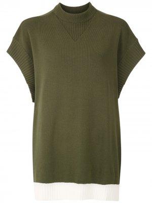 Трикотажная блузка с рукавами летучая мышь Gloria Coelho. Цвет: зеленый