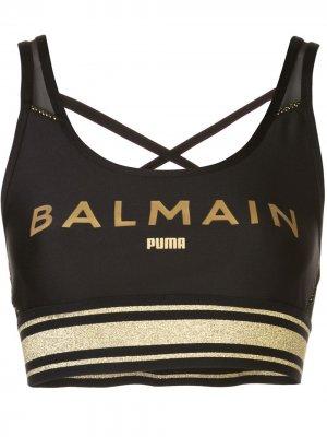 Топ без рукавов с логотипом из коллаборации Balmain Puma. Цвет: черный