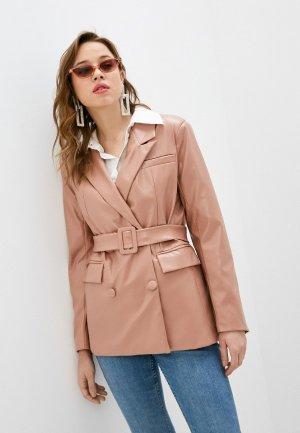 Куртка кожаная Pinkkarrot. Цвет: розовый