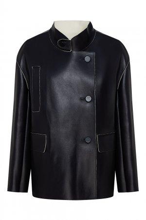Кожаная куртка оверсайз Marni. Цвет: черный