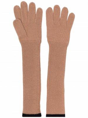 Шерстяные перчатки в рубчик Aspesi. Цвет: нейтральные цвета