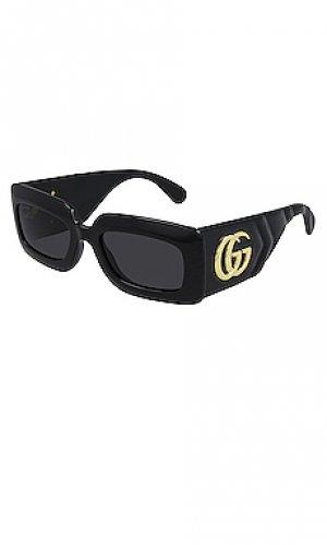 Солнцезащитные очки matelasse rectangular icon Gucci. Цвет: черный