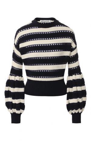 Вязаный пуловер из смеси хлопка и шерсти self-portrait. Цвет: разноцветный
