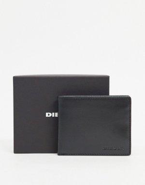 Черный кожаный бумажник с логотипом Diesel