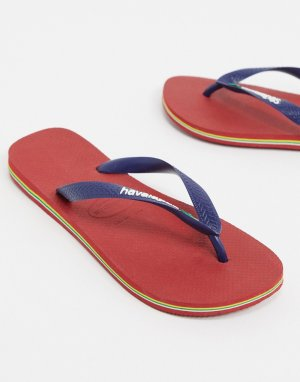 Красно-синие шлепанцы с логотипом -Красный Havaianas