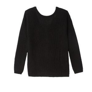 Пуловер с V-образным вырезом сзади и длинными рукавами SEE U SOON. Цвет: черный