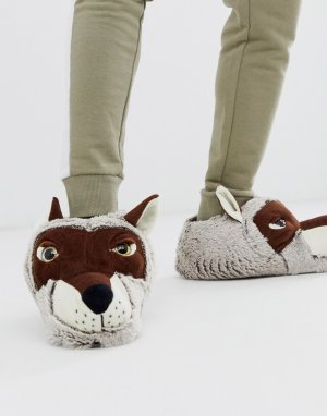 Слиперы в форме волков s-Коричневый Loungeable