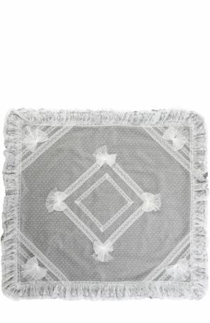 Хлопковое одеяло с кружевной отделкой и бантами Aletta. Цвет: серый
