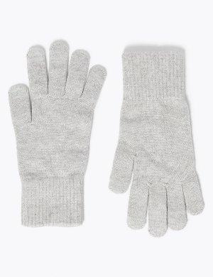 Супер мягкие вязаные перчатки M&S Collection. Цвет: серый
