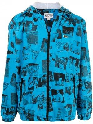 Куртка на молнии с принтом из коллаборации Polaroid Lacoste. Цвет: синий
