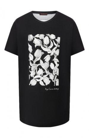 Хлопковая футболка Chapurin. Цвет: черный