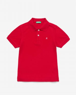 Поло пике с лого Benetton. Цвет: красный