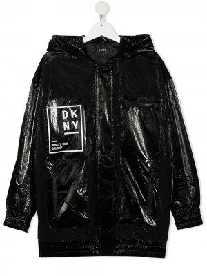 Лакированный плащ Dkny Kids. Цвет: черный