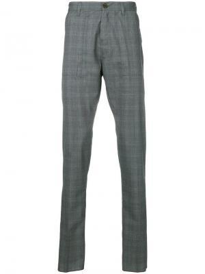 Классические брюки в клетку Eleventy. Цвет: серый