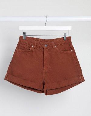 Коричневые джинсовые шорты из органического хлопка -Коричневый Monki