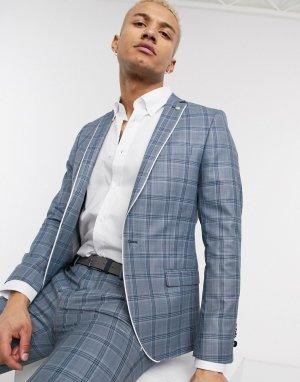 Синий пиджак скинни в клетку с контрастным кантом -Голубой Twisted Tailor