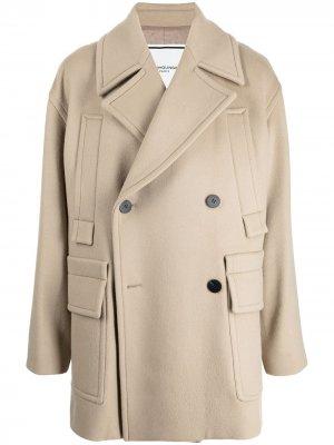 Двубортное пальто оверсайз Wooyoungmi. Цвет: белый
