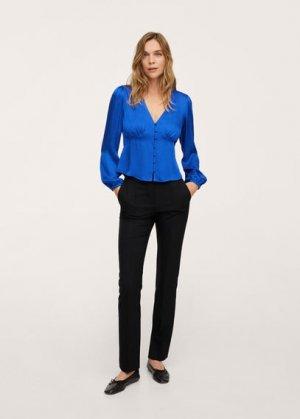 Струящаяся блузка с пуговицами - Marlene Mango. Цвет: синий