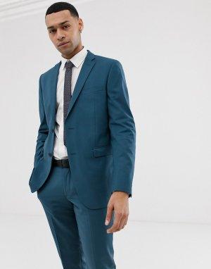 Синий приталенный пиджак -Голубой Esprit
