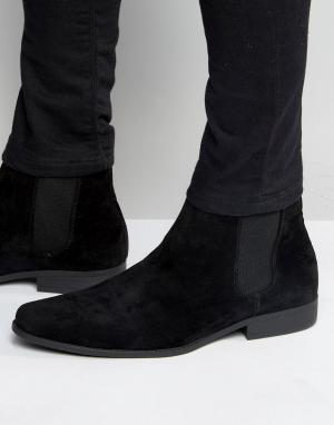Черные ботинки челси из искусственной замши ASOS DESIGN. Цвет: черный