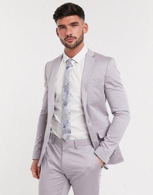 Сатиновый приталенный пиджак -Серый Devils Advocate