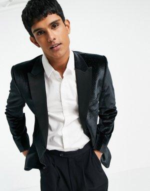 Пиджак-смокинг зауженного кроя с тонкой полоской из пайеток -Черный цвет ASOS DESIGN