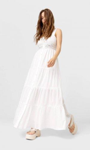 Длинное Платье В Бельевом Стиле Цвет Небеленого Полотна Xl Stradivarius. Цвет: цвет небеленого полотна