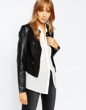 Кожаная байкерская куртка с замшевыми вставками Premium Vila. Цвет: черный