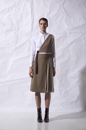 Юбка миди с асимметричным дизайном VASSA&Co. Цвет: бежевый