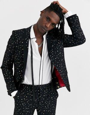 Черный супероблегающий пиджак-смокинг в золотистый горошек Twisted Tailor