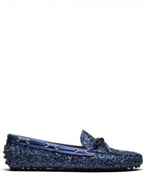 Мокасины с блестками Car Shoe. Цвет: синий