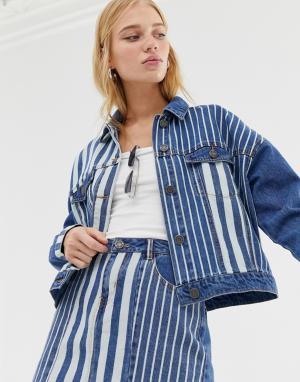 Джинсовая куртка в полоску -Синий Noisy May