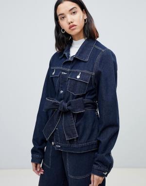Джинсовая куртка с контрастной строчкой FAE. Цвет: темно-синий